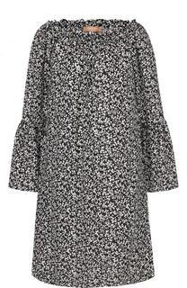 Шелковое платье-миди с принтом и открытыми плечами Michael Kors