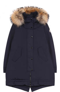 Пуховое пальто с меховой отделкой на капюшоне Moncler Enfant