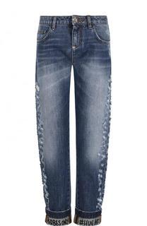 Укороченные джинсы прямого кроя с потертостями Philipp Plein