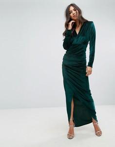 Бархатное платье макси с глубоким вырезом и запахом Outrageous Fortune - Зеленый