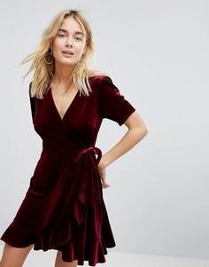 Бархатное платье с запахом New Look - Красный