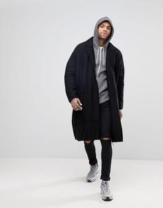 Удлиненное стеганое легкое пальто ASOS - Черный