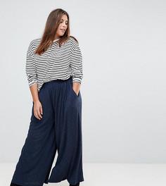 Широкие брюки из плиссированной ткани Glamorous Curve - Темно-синий