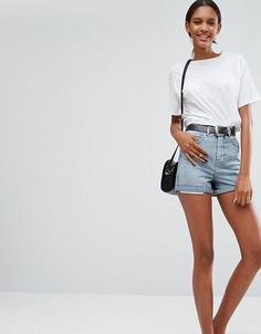 Джинсовые шорты с выступающей подкладкой карманов ASOS - Черный