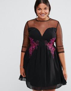 Короткое приталенное платье с прозрачными сетчатыми вставками и цветочной вышивкой Little Mistress Plus - Черный