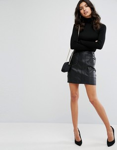 Байкерская мини-юбка из искусственной кожи River Island - Черный