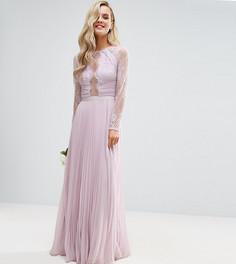 Кружевное платье макси с плиссировкой ASOS PETITE WEDDING - Фиолетовый