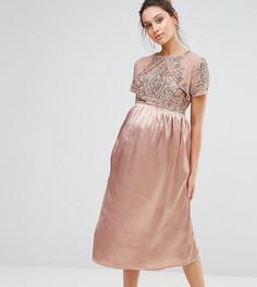 Платье миди с атласной юбкой и декорированным лифом Maya Maternity - Золотой