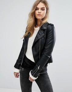 Байкерская куртка из искусственной кожи Pimkie - Черный