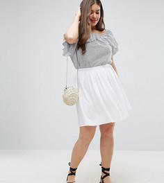 Расклешенная мини-юбка со складками ASOS CURVE - Белый
