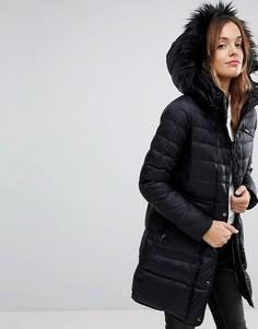 Удлиненная дутая куртка с отделкой из искусственного меха Vero Moda - Черный
