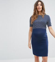 Двухслойное платье в полоску New Look Maternity Nursing - Синий