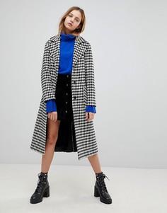Длинное полушерстяное пальто с поясом Helene Berman - Черный