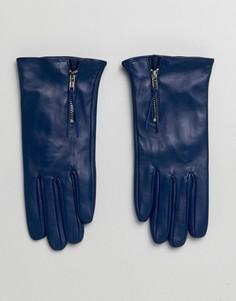Перчатки из натуральной кожи с молнией Barneys - Темно-синий Barneys Originals