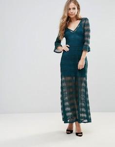 Ажурное платье макси с отдельной комбинацией Wyldr - Зеленый