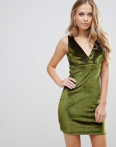 Бархатное платье мини с плиссировкой Wyldr Distractions - Зеленый