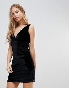 Бархатное платье мини с плиссировкой Wyldr Distractions - Черный