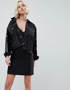 Укороченная джинсовая куртка с контрастными рукавами N12H Jetset - Черный