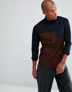 Рубашка колор блок на пуговицах с карманом Troy - Черный