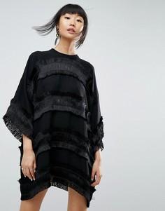 Платье мини с бахромой ASOS WHITE - Черный