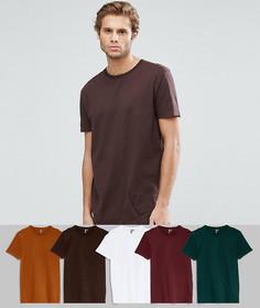 Набор из 5 длинных футболок с круглым вырезом ASOS - СКИДКА - Мульти