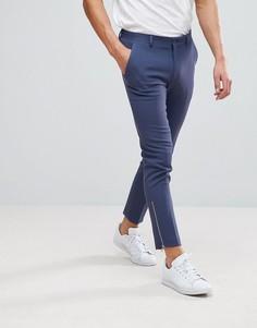 Строгие укороченные фактурные брюки скинни с серебристыми молниями ASOS - Синий