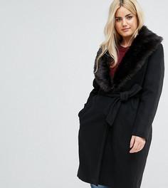 Длинное пальто со съемным воротником с искусственным мехом Brave Soul Plus Ada - Черный