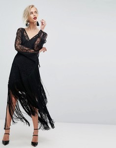 Кружевное платье миди с запахом, глубоким вырезом и бахромой ASOS - Черный