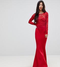 Кружевное платье макси с бантом City Goddess Petite - Красный
