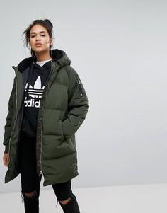 Длинный бомбер цвета хаки Adidas Originals - Зеленый