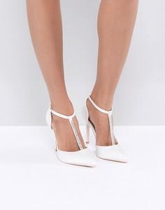 Белые декорированные туфли-лодочки с Т-образными ремешками True Decadence - Белый