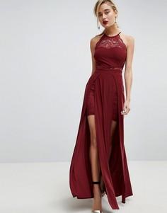 Платье макси с кружевом и двумя разрезами ASOS - Красный