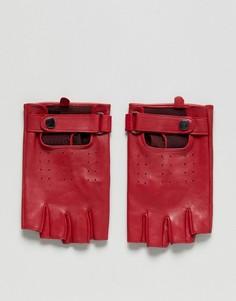 Красные кожаные перчатки без пальцев ASOS - Красный