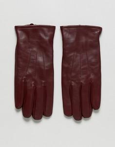 Бордовые кожаные перчатки ASOS - Красный