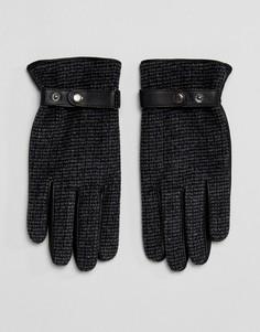 Кожаные перчатки с твидовыми вставками ASOS - Серый