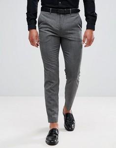 Меланжевые зауженные брюки Burton Menswear - Серый