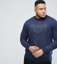 Темно-синий меланжевый джемпер с круглым вырезом и логотипом Tommy Hilfiger PLUS - Темно-синий