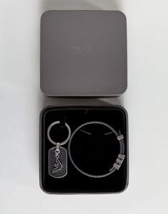 Черный кожаный браслет и брелок для ключей с логотипом-орлом Emporio Armani - Черный