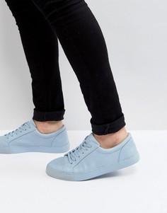 Пастельно-синие кроссовки на шнуровке ASOS - Синий