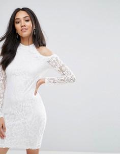 Кремовое платье с длинными рукавами и вырезами Ax Paris - Кремовый
