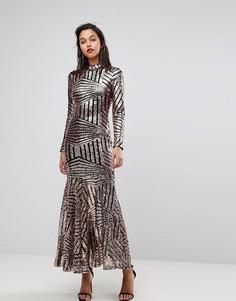 3cd85a21247 Платье макси с длинными рукавами и отделкой пайетками Club L - Золотой
