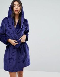 Короткий халат с тисненой отделкой B By Ted Baker - Синий