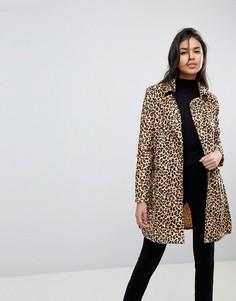 Пальто с леопардовым принтом и поясом Parisian - Коричневый
