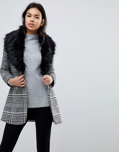 Пальто в клетку с меховым воротником Parisian - Черный