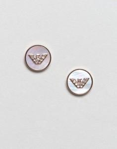 Золотисто-розовые серьги-гвоздики с логотипом Emporio Armani - Золотой