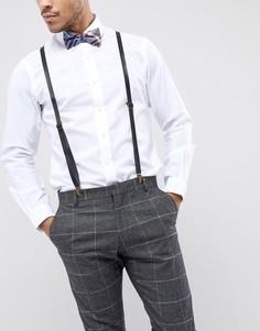 Кожаные подтяжки с узором тартан и галстук-бабочка 7X - Синий
