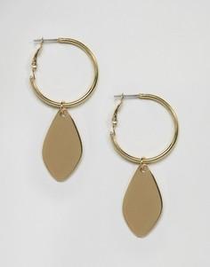 Серьги-кольца с подвеской DesignB London - Золотой