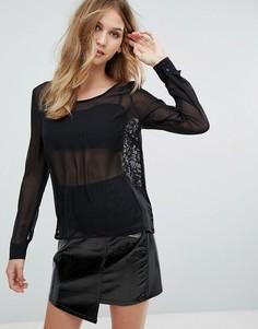 Полупрозрачная блузка QED London - Черный