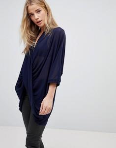 Блузка с перекрестным дизайном QED London - Темно-синий