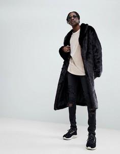 Черное удлиненное пальто из искусственного меха ASOS - Черный